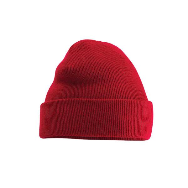 Rød lue med brodert logo